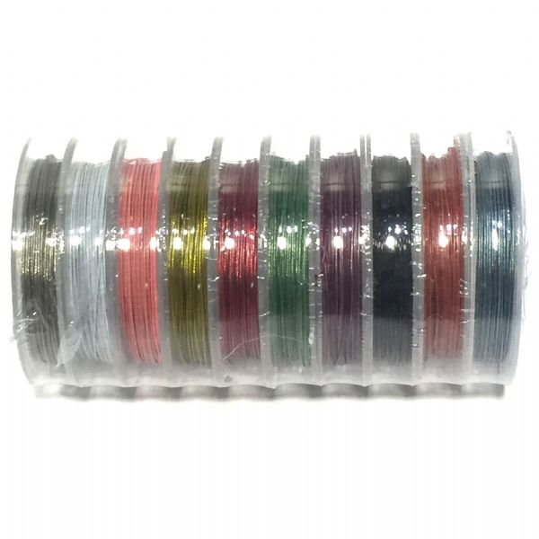 10 x 10 metre rolls mixed coloured tigertail wire for jewellery making 0.45mm